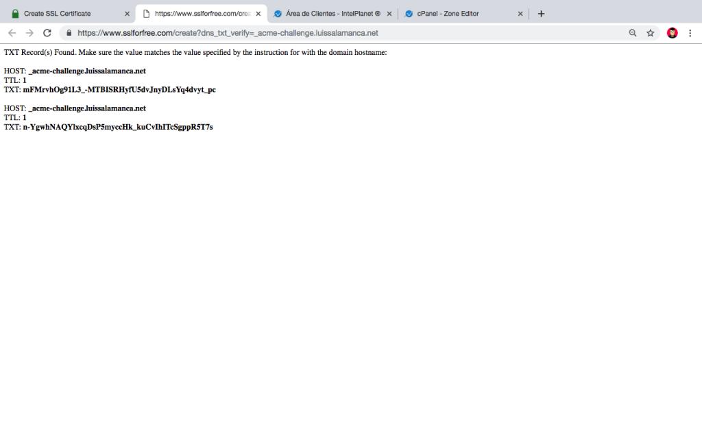 Let's Encrypt DNS Records CPANEL Records